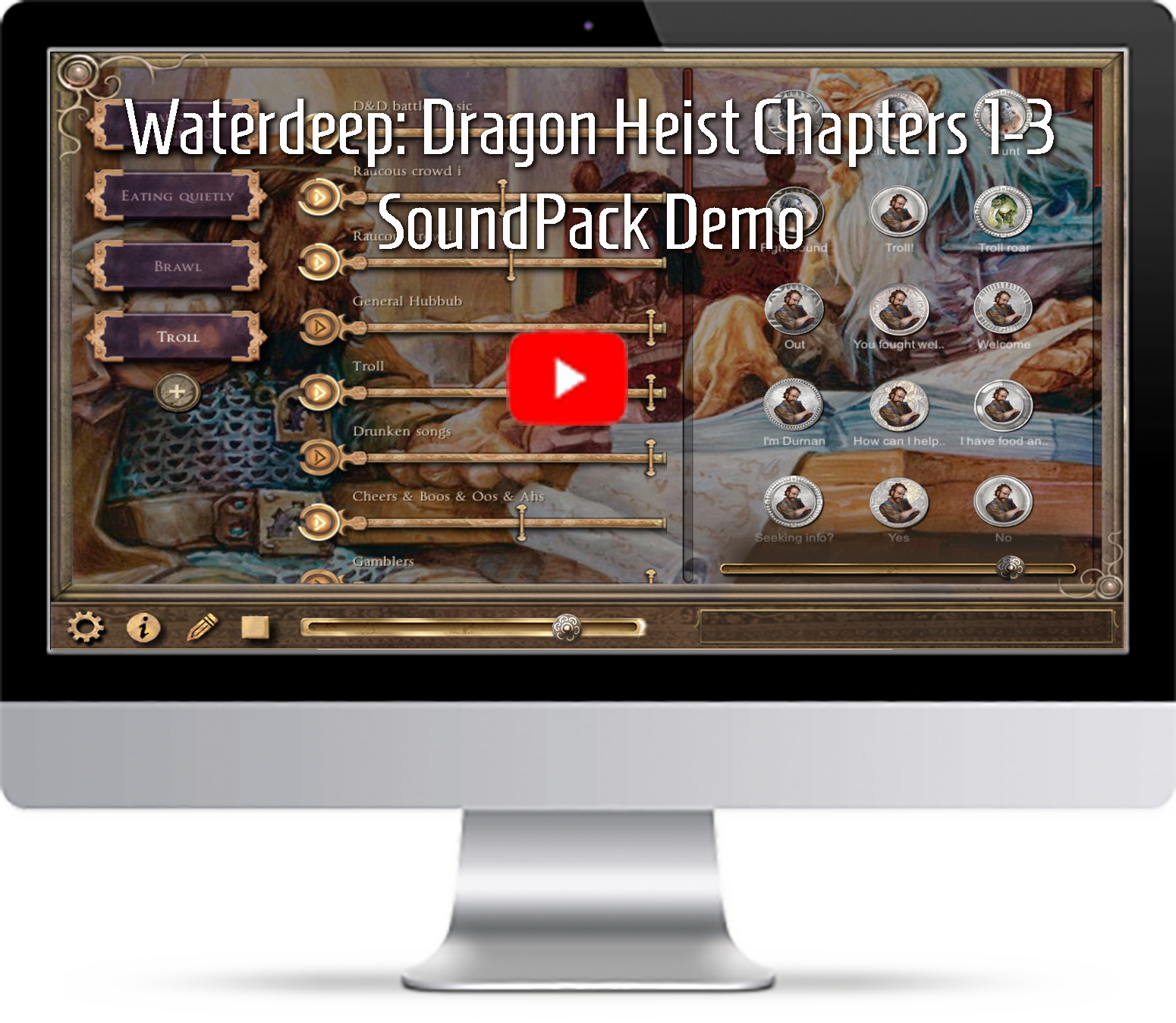 Waterdeep dragon heist soundpack demo video